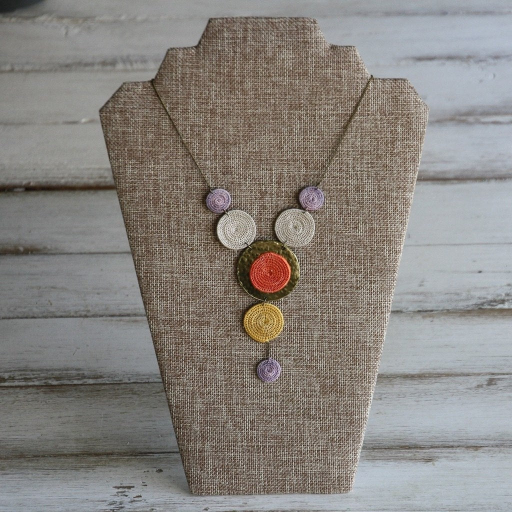 Sun Statement - Woven Sisal & Brass Necklaces