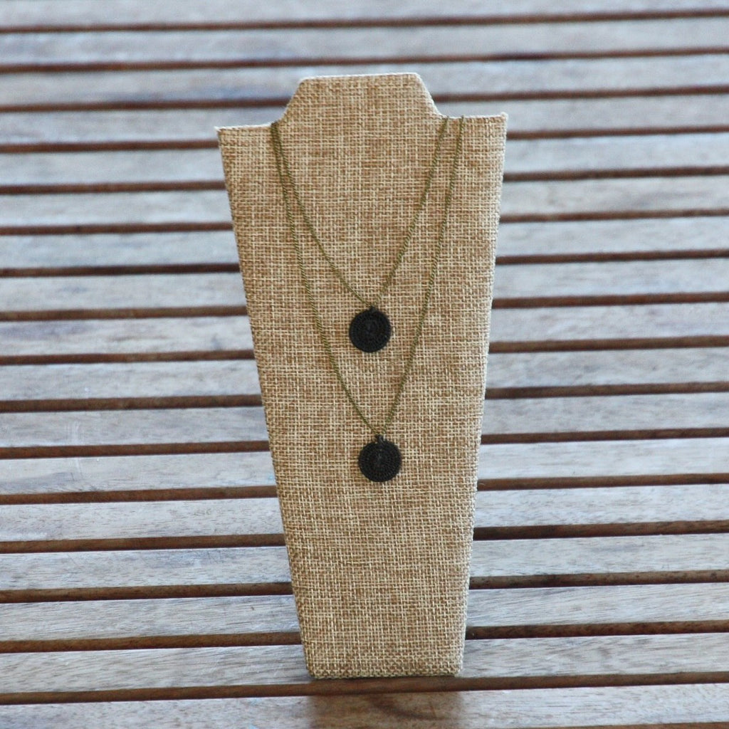 Twos Company Necklace - Woven Sisal & Brass