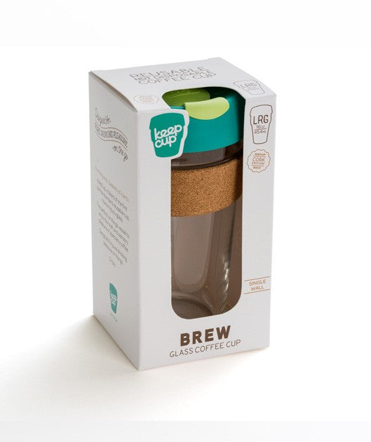 KeepCup Brew Glass Reusable Coffee Cup - Cork Edition