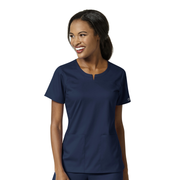 6419A - Women's 4 Pocket Notch Neck Top