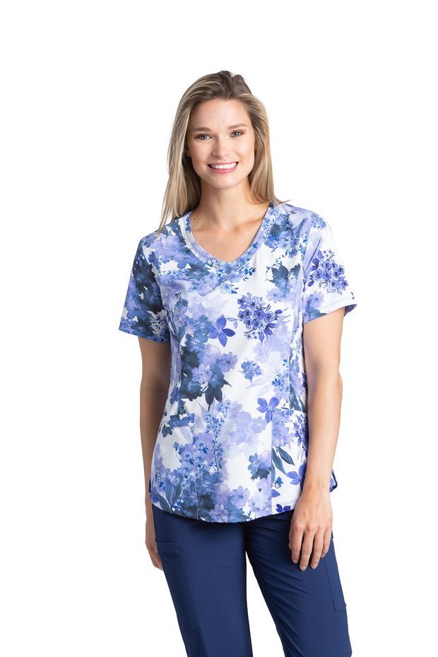 782 Rounded V-neck Printed Top Iris