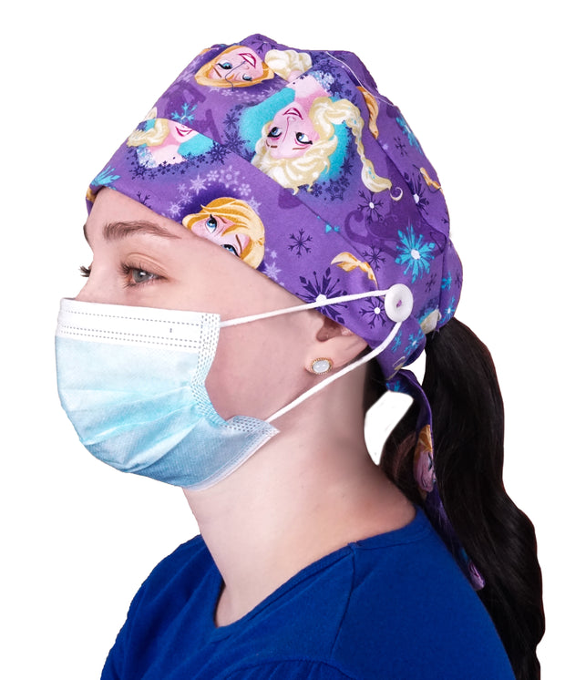 Ear Saving Medical Cap with Buttons - Printed