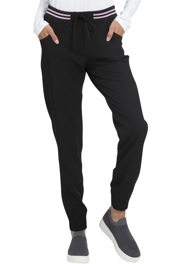 HS090 Rib Knit Waist Jogger in Black