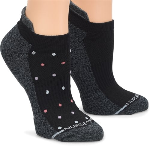 Nurse Mates Compression Anklet 2-pack Black dot/solid NA0022499