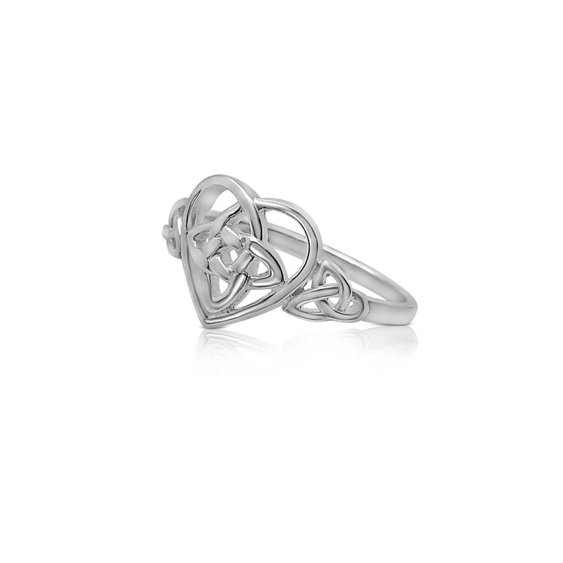 Sterling Silver Heart Ring with Celtic Knot