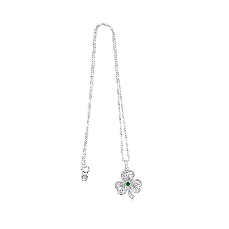 Sterling Silver Shamrock with Emerald CZ