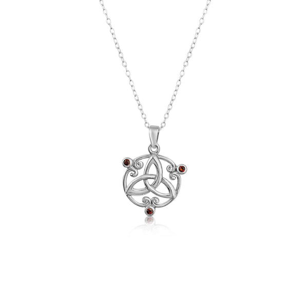 Sterling Silver Celtic Knot Pendant with Ruby CZ