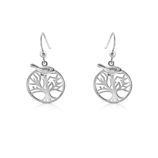 Sterling Silver Tree Life Drop Earrings with Bird