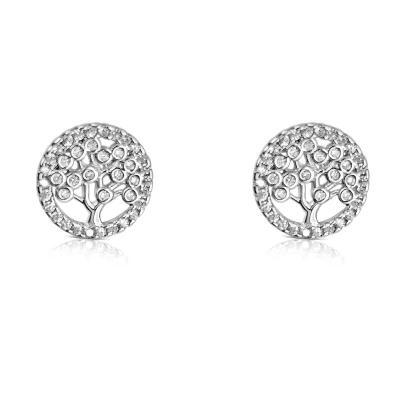 Sterling Silver Tree of Life Earrings with CZ