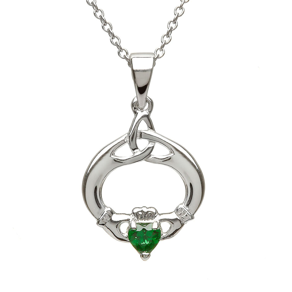 Sterling Silver Claddagh Trinity Knot Pendant Set with Heart Shaped Birthstone (CZ Emerald) May