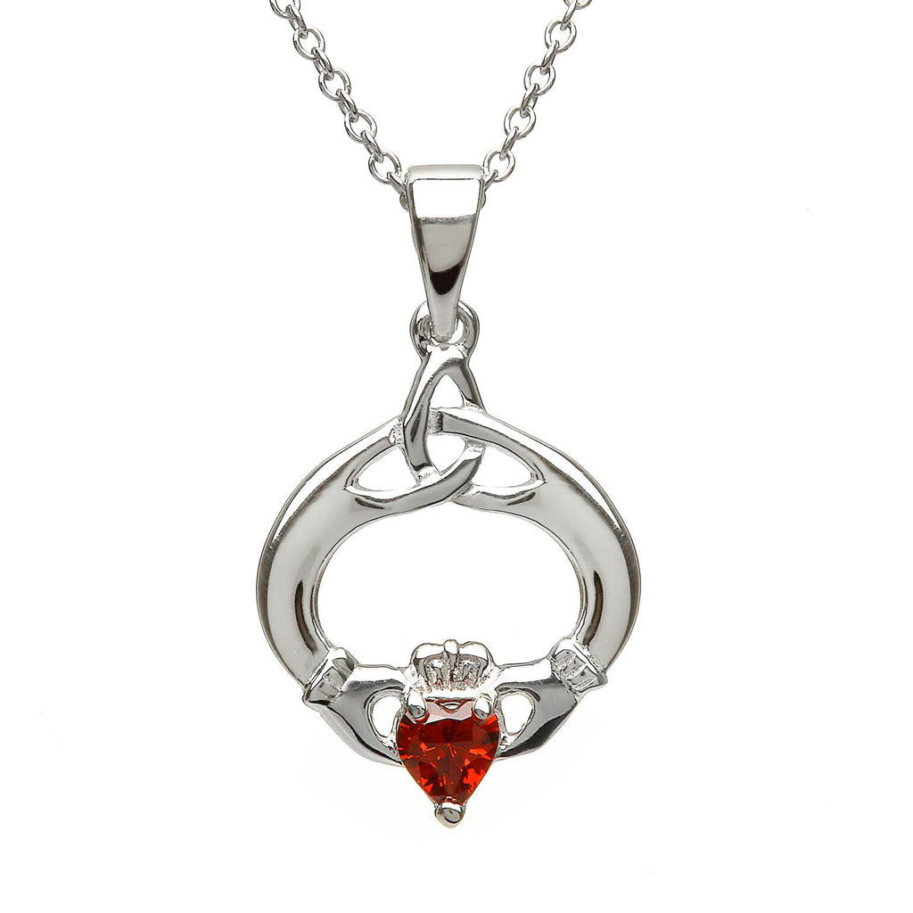 Sterling Silver Claddagh Trinity Knot Pendant Set with Heart Shaped Birthstone (CZ Garnet) January