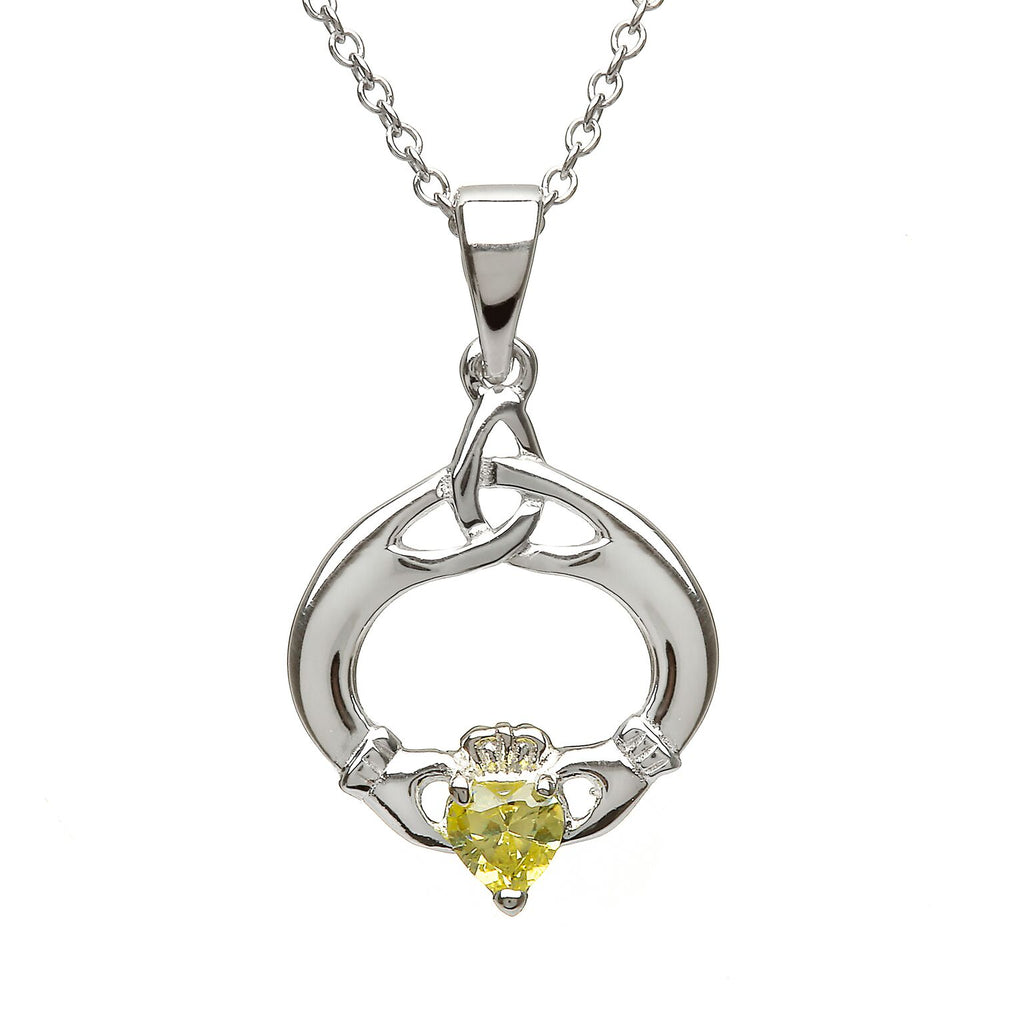 Sterling Silver Claddagh Trinity Knot Pendant Set with Heart Shaped Birthstone (CZ Peridot) August