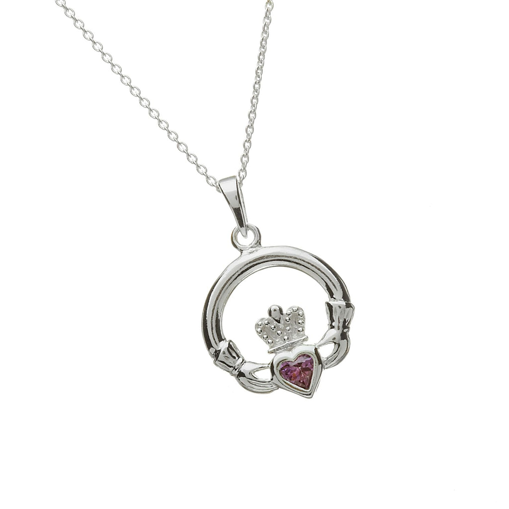 Sterling Silver Claddagh Pendant Set with Heart Shaped Birthstone (CZ Alexanderite) June