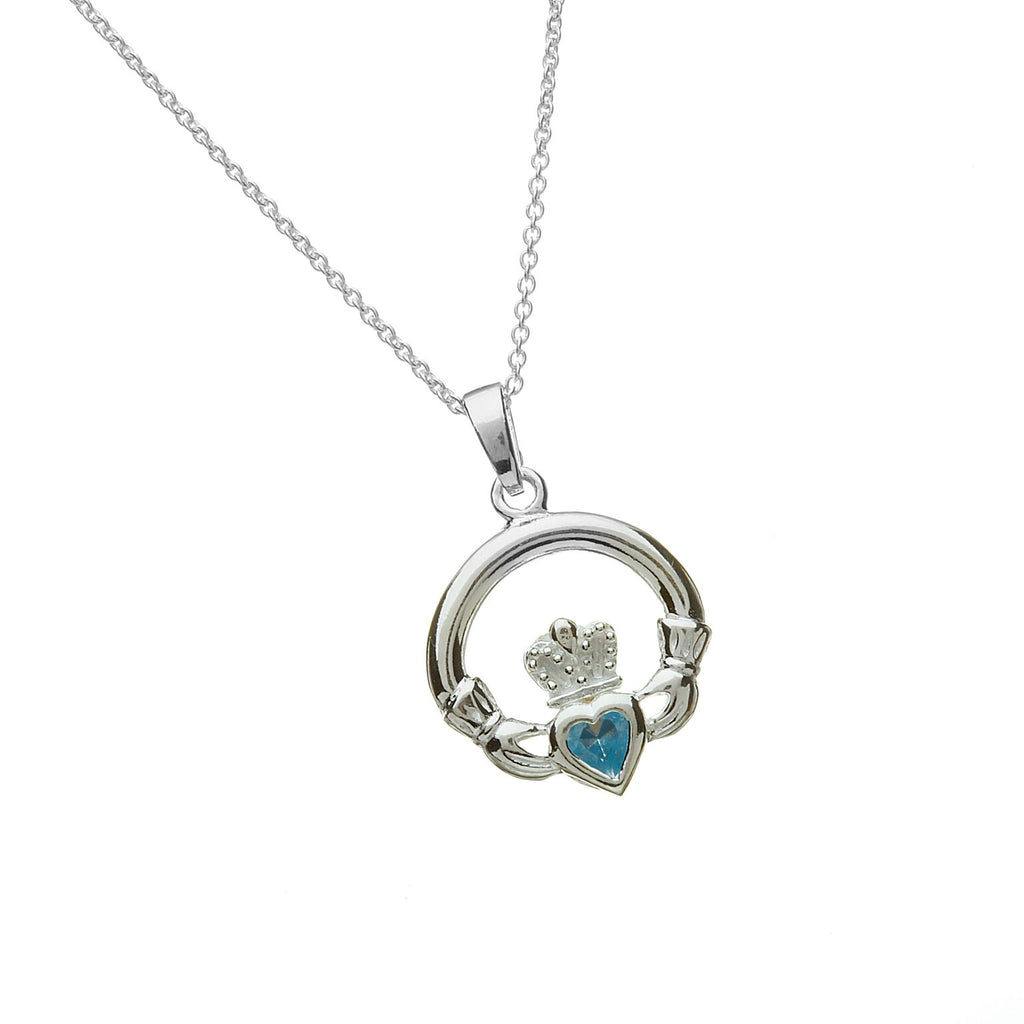 Sterling Silver Claddagh Pendant Set with Heart Shaped Birthstone (CZ Aqua) March