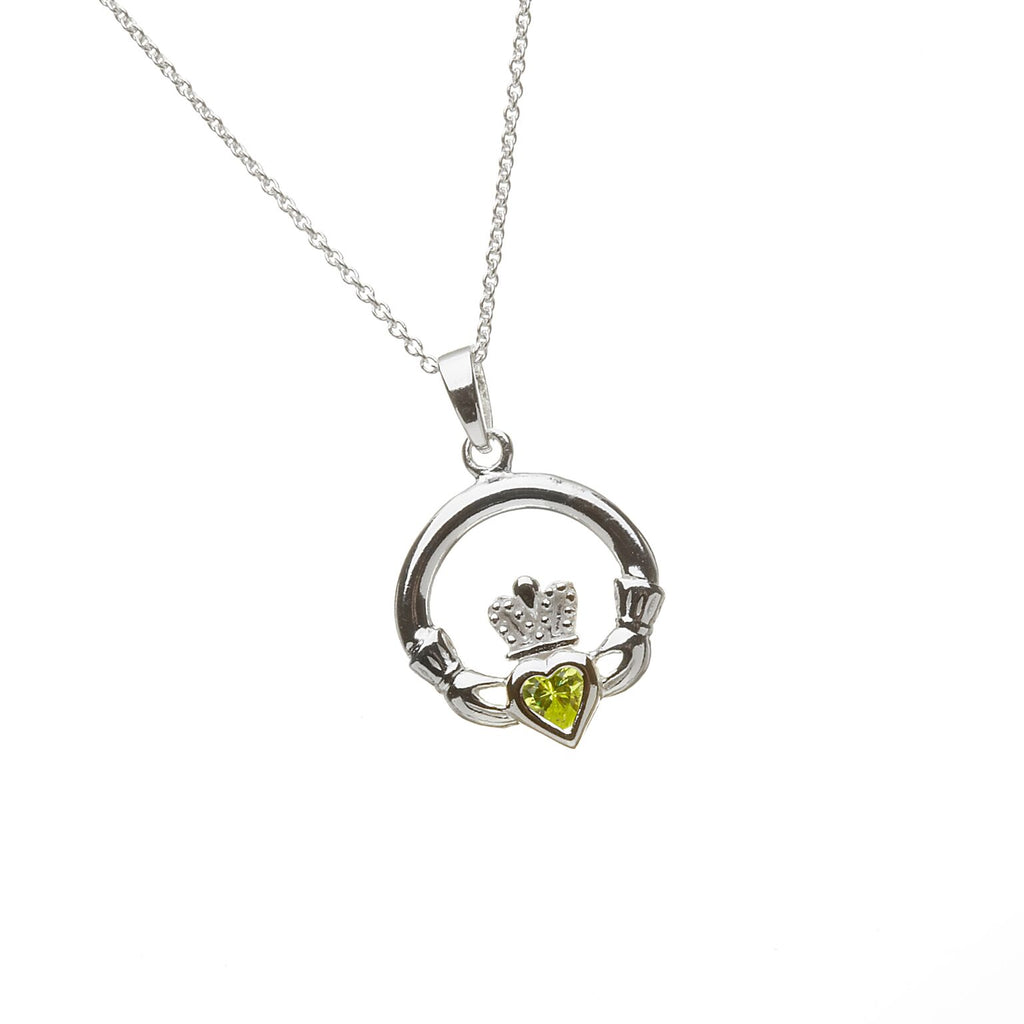 Sterling Silver Claddagh Pendant Set with Heart Shaped Birthstone (CZ Peridot) August