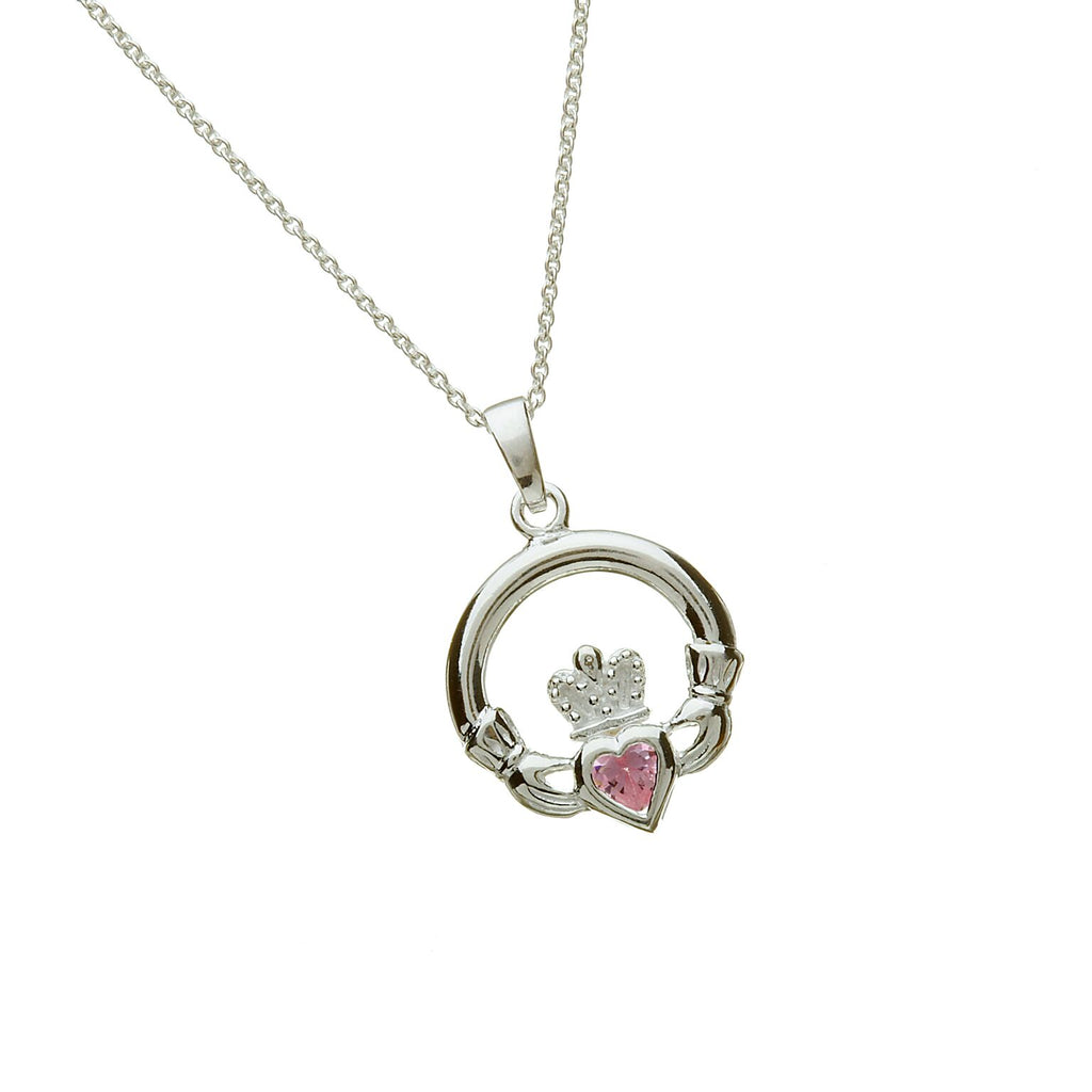 Sterling Silver Claddagh Pendant Set with Heart Shaped Birthstone (CZ Pink) October