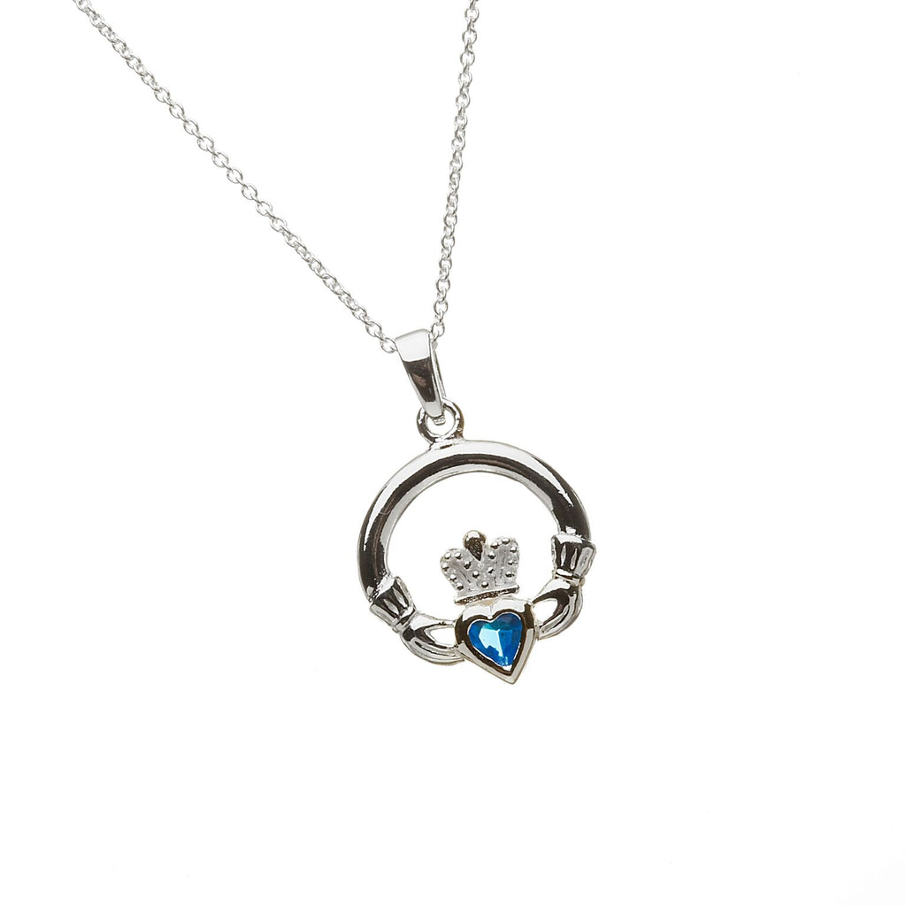 Sterling Silver Claddagh Pendant Set with Heart Shaped Birthstone (CZ Turquoise Blue) December