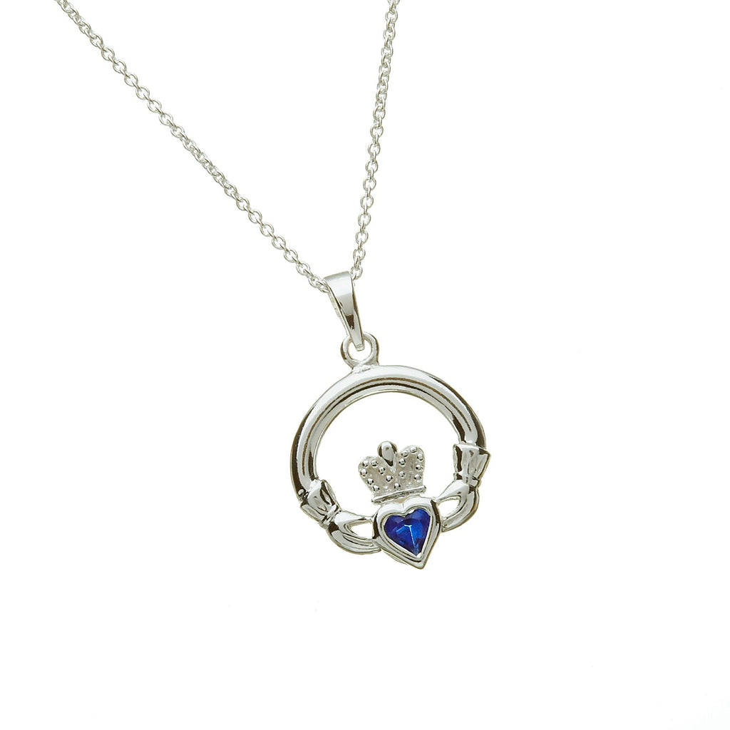 Sterling Silver Claddagh Pendant Set with Heart Shaped Birthstone (CZ Sapphire) September