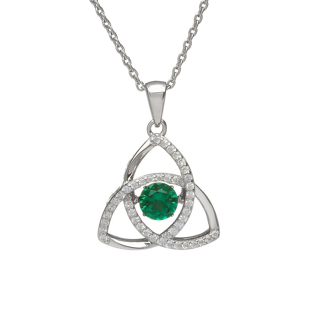 Sterling Silver Dancing Birthstone Pendant May (Green CZ)