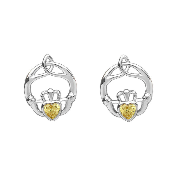 Sterling Silver Childrens Birthstone Stud Earrings November (Topaz CZ)