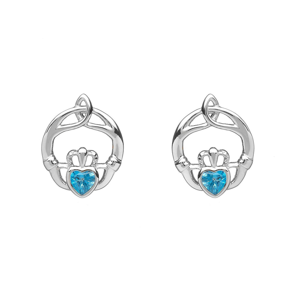 Sterling Silver Childrens Birthstone Stud Earrings December (Blue Topaz CZ)