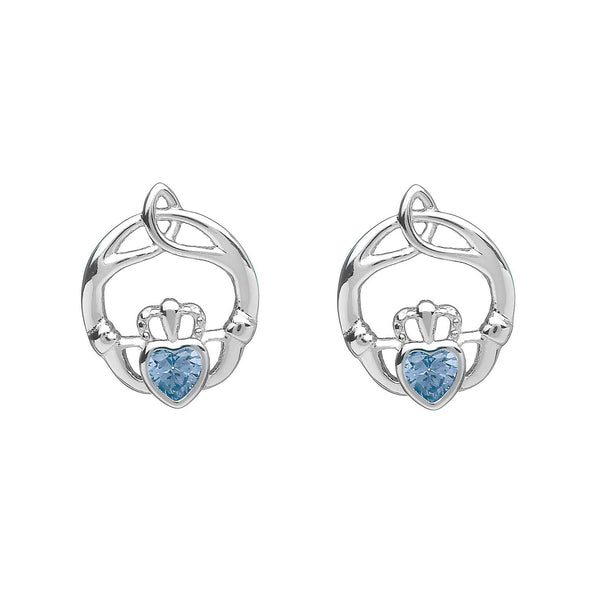 Sterling Silver Childrens Birthstone Stud Earrings March (Aqua CZ)
