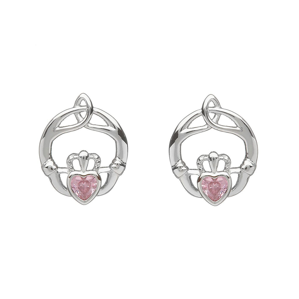 Sterling Silver Childrens Birthstone Stud Earrings October (Pink CZ)