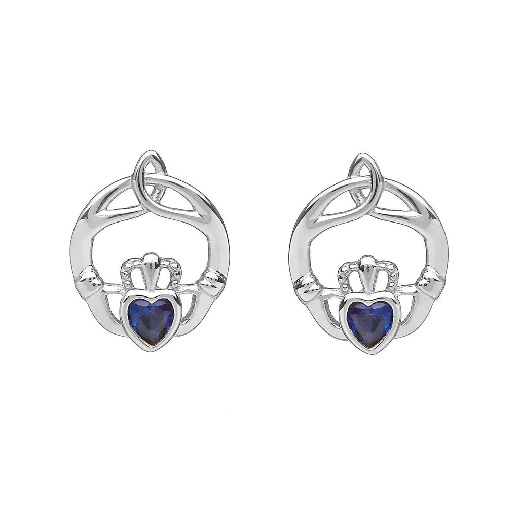 Sterling Silver Childrens Birthstone Stud Earrings September (Sapphire CZ)