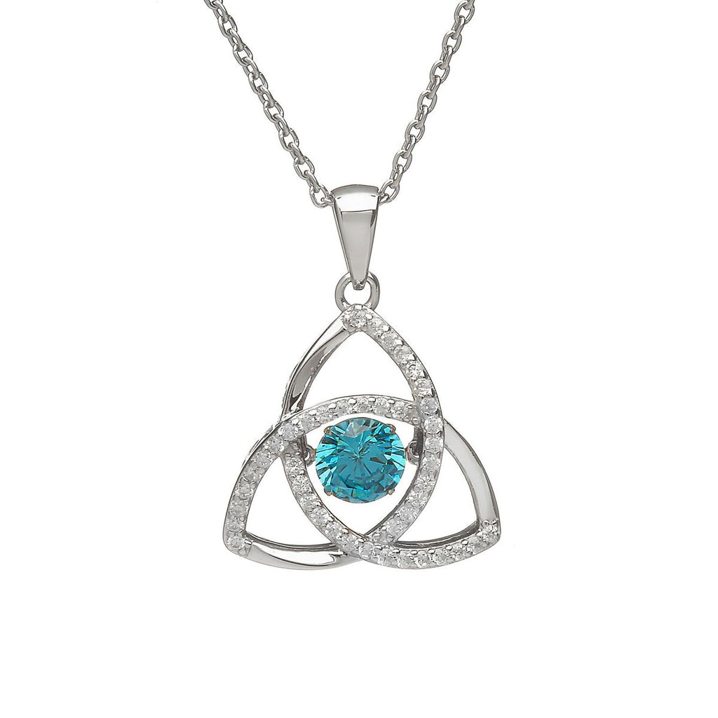 Sterling Silver Dancing Birthstone Pendant March (Aqua CZ)