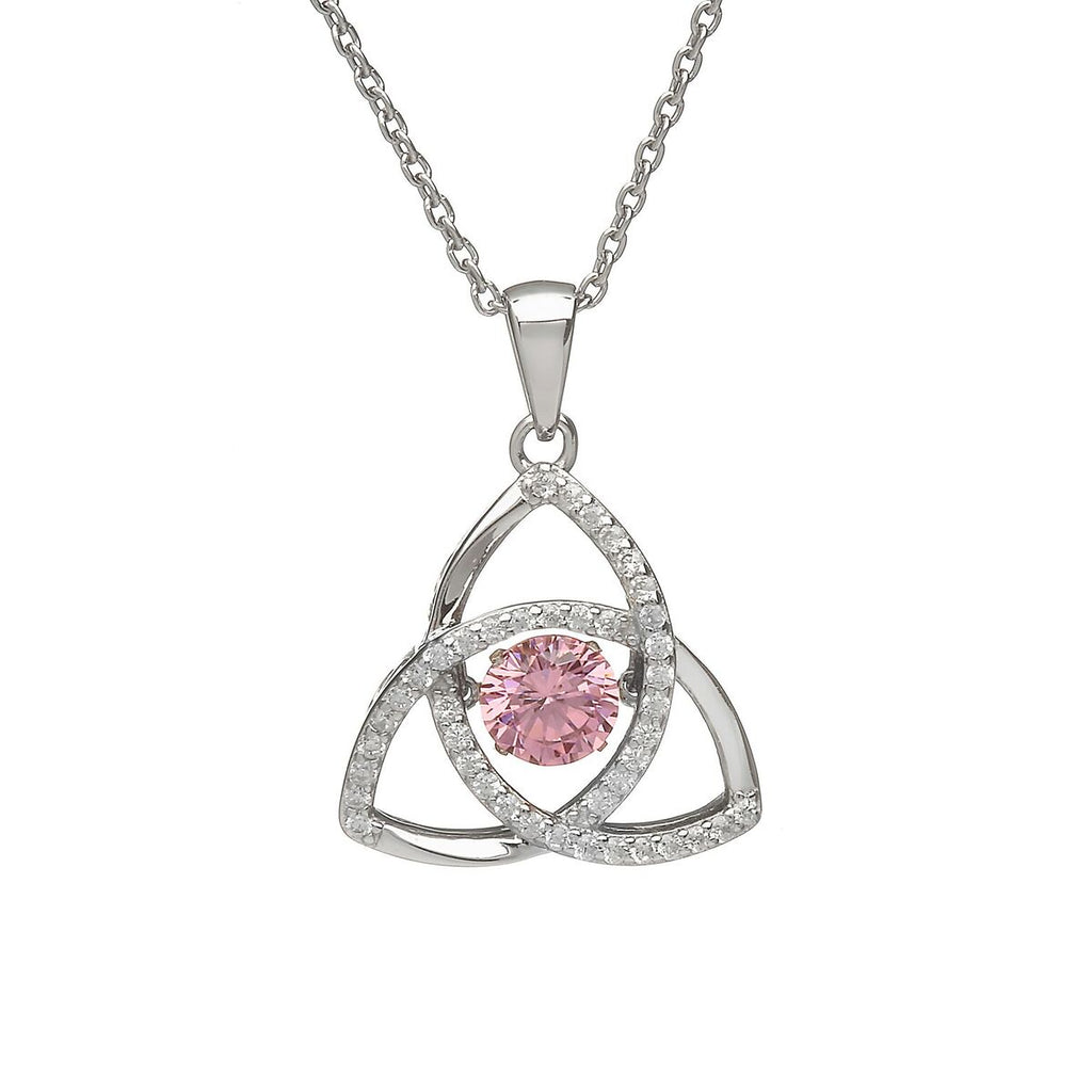 Sterling Silver Dancing Birthstone Pendant October (Pink CZ)