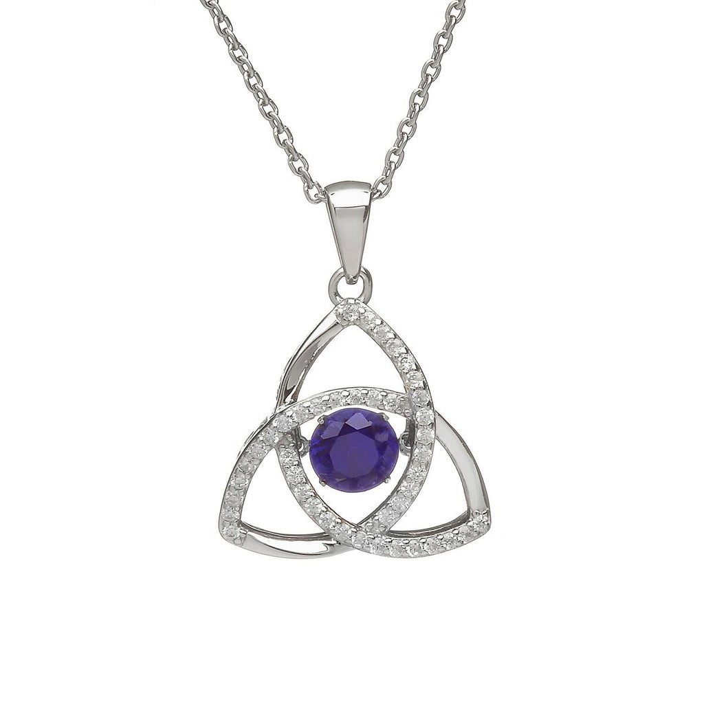 Sterling Silver Dancing Birthstone Pendant September (Sapphire CZ)