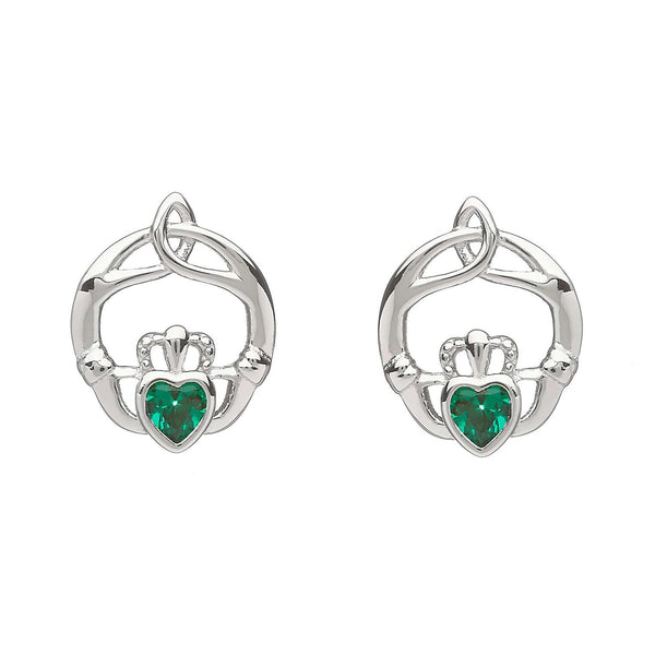 Sterling Silver Childrens Birthstone Stud Earrings May (Green CZ)