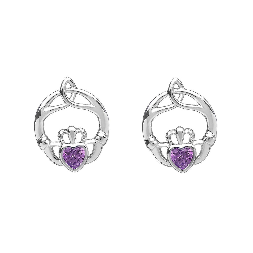 Sterling Silver Childrens Birthstone Stud Earrings February (Amethyst CZ)
