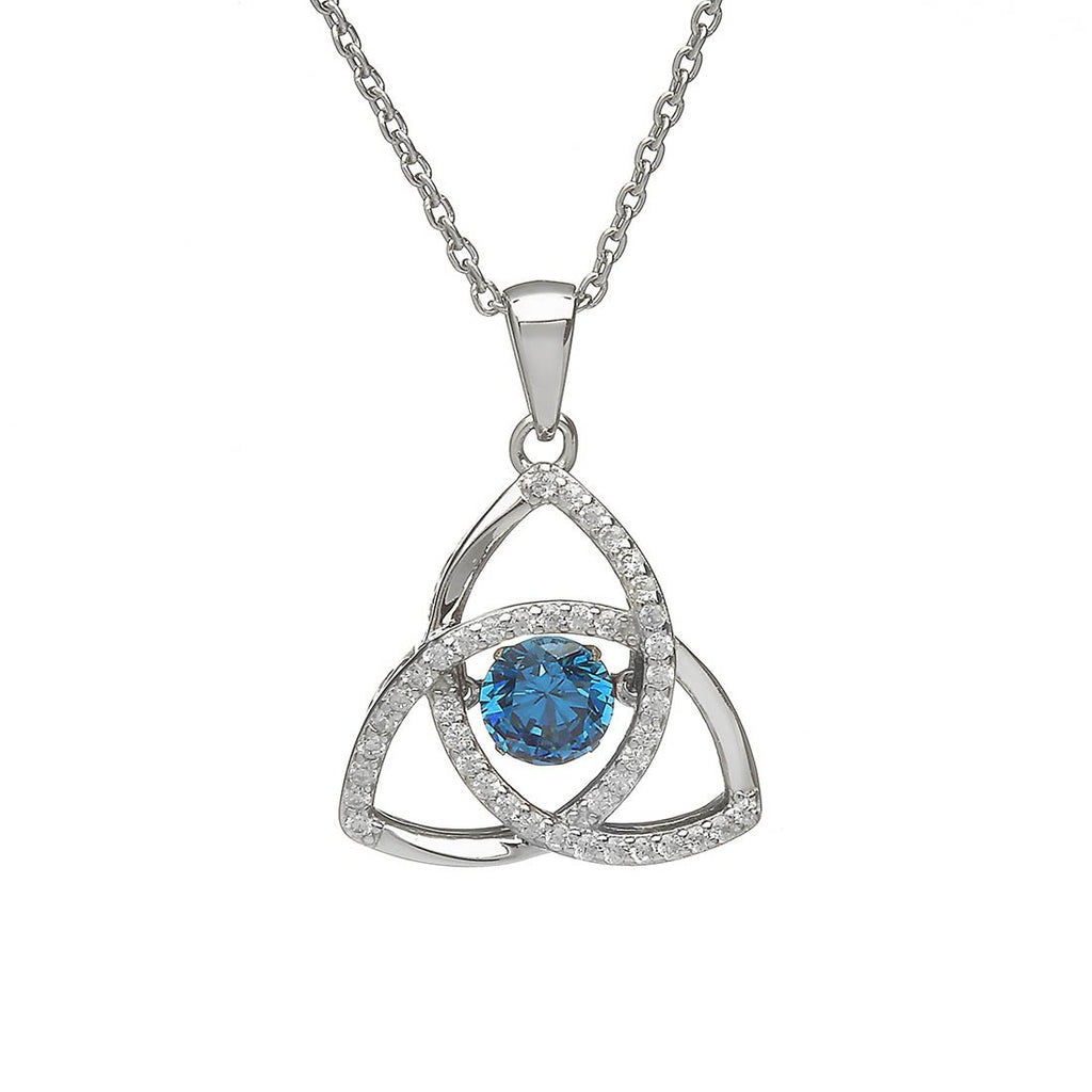 Sterling Silver Dancing Birthstone Pendant December (Blue Topaz CZ)