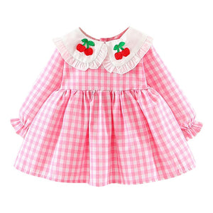 Baby / Toddlr Girl Ruffles Ruched Cherry Print Long-sleeve Dress