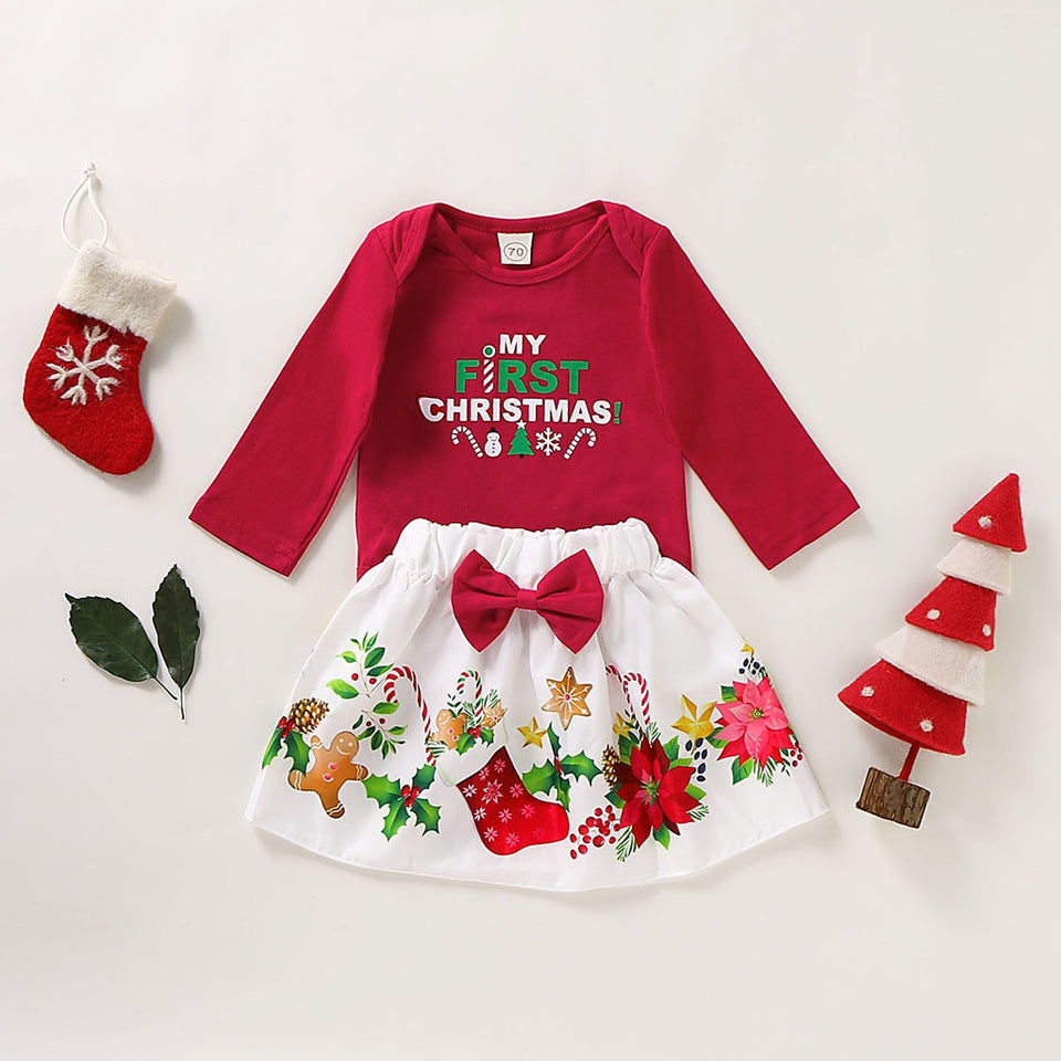 My First Christmas Girl Letter Print Bodysuit + Cartoon Skirts