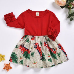Christmas tree designed Kid Girls Dress