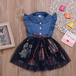 Toddler Girl Ruffle Side Denim Tulle Dress