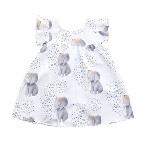 Lovely Crown Elephant Star Print Flounce-sleeve Dress