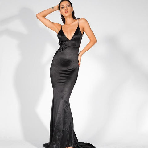 Black Strappy Backless Maxi Dress Sheeksy