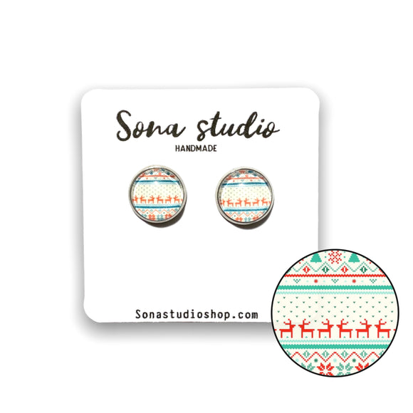 """Ugly"" Sweater Cabochon Earrings"
