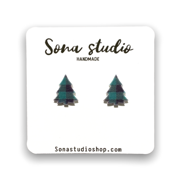 Green Plaid Tree Earrings