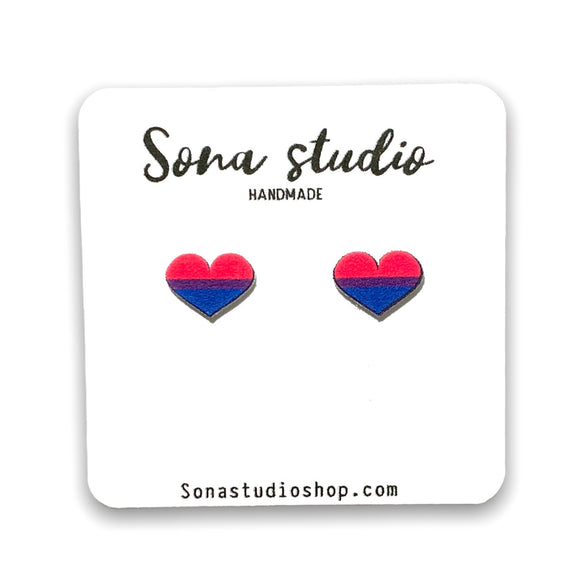 Bisexual Flag Heart Earrings
