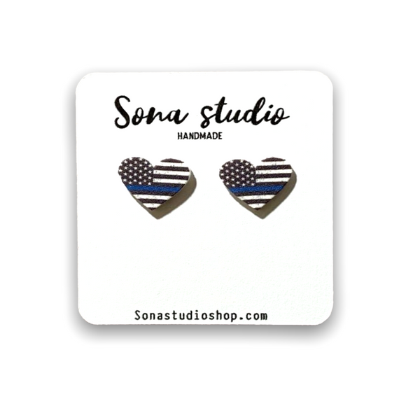 Thin Blue Line Heart Earrings