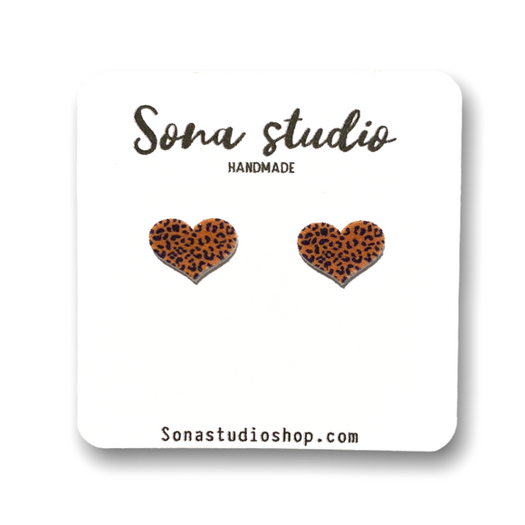 Cheetah Print Heart Earrings