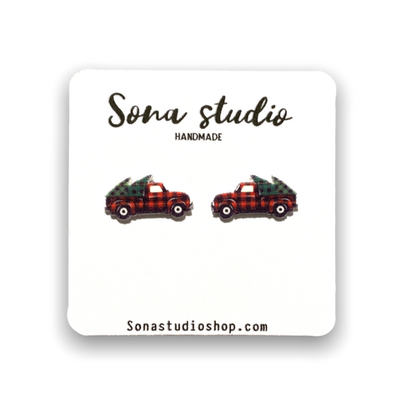 Red Truck Earrings