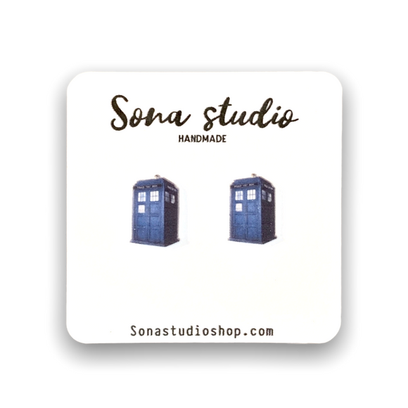 Call Box Earrings (Tardis)