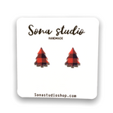 Red Plaid Tree Earrings