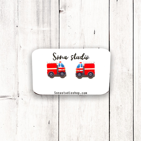 Fire Truck Earrings