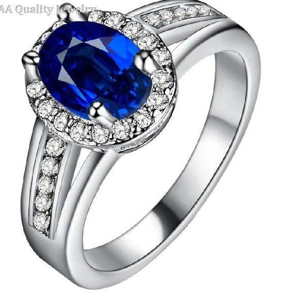 Luxury Blue Stone Zircon  Ring - Boring Online Store